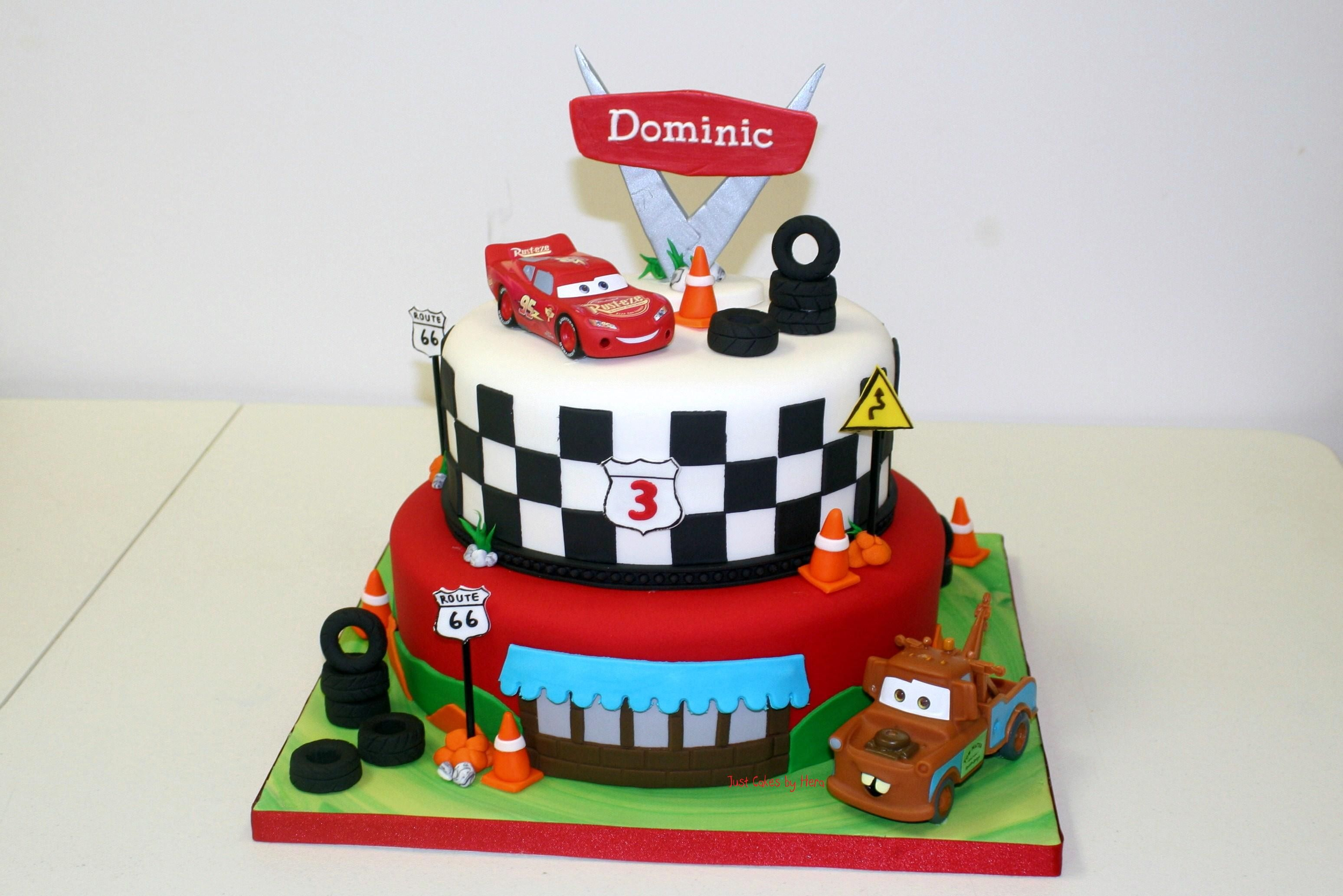 Cars Themed 8 And 10 Round Cake With Images Cars Birthday Cake