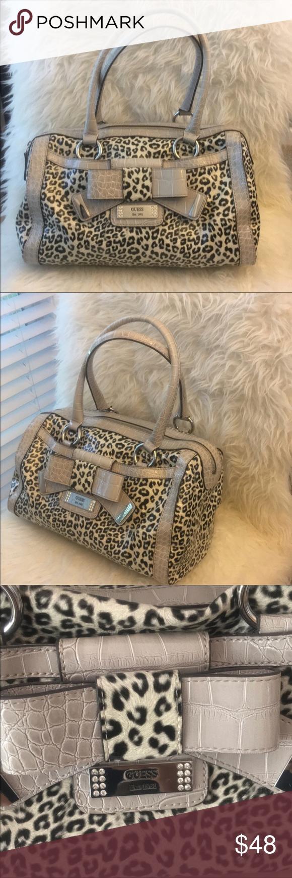 Guess Handbag Gorgeous animal print handbag with a beautiful bow detail b2cd689110e1b
