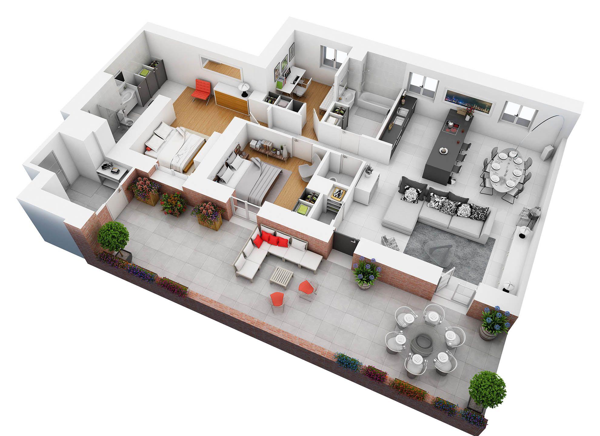 Conceptark plans coupés 3d · espacesappartement de 2 chambresplans