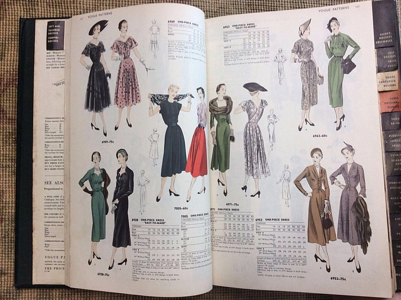 Vtg Vogue Sewing Pattern Counter Catalog July 1950 Hard Bound Book ...