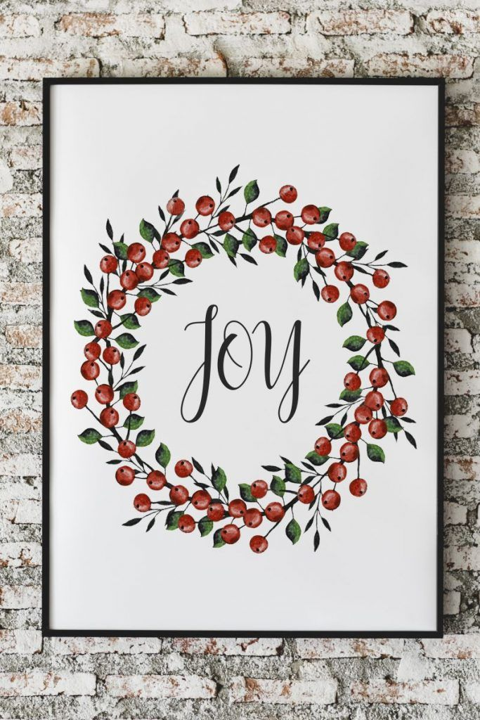 Beautiful FREE Watercolor Christmas Printables #christmaswalldecorations