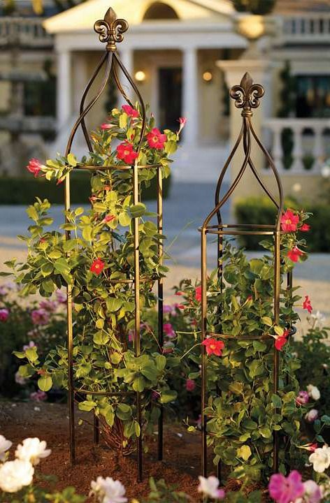 Covered In Climbing Roses And Clematis, Our Freestanding Fleur De Lis  Trellis Brings