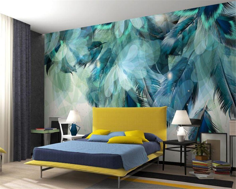 3D Retro Blue Vintage Flower Nordic Wall Mural Wallpaper Living Room Bedroom