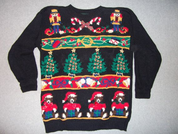 nutcracker christmas tree teddy bears vintage sweater gaugy tacky ugly party l large croft barrow
