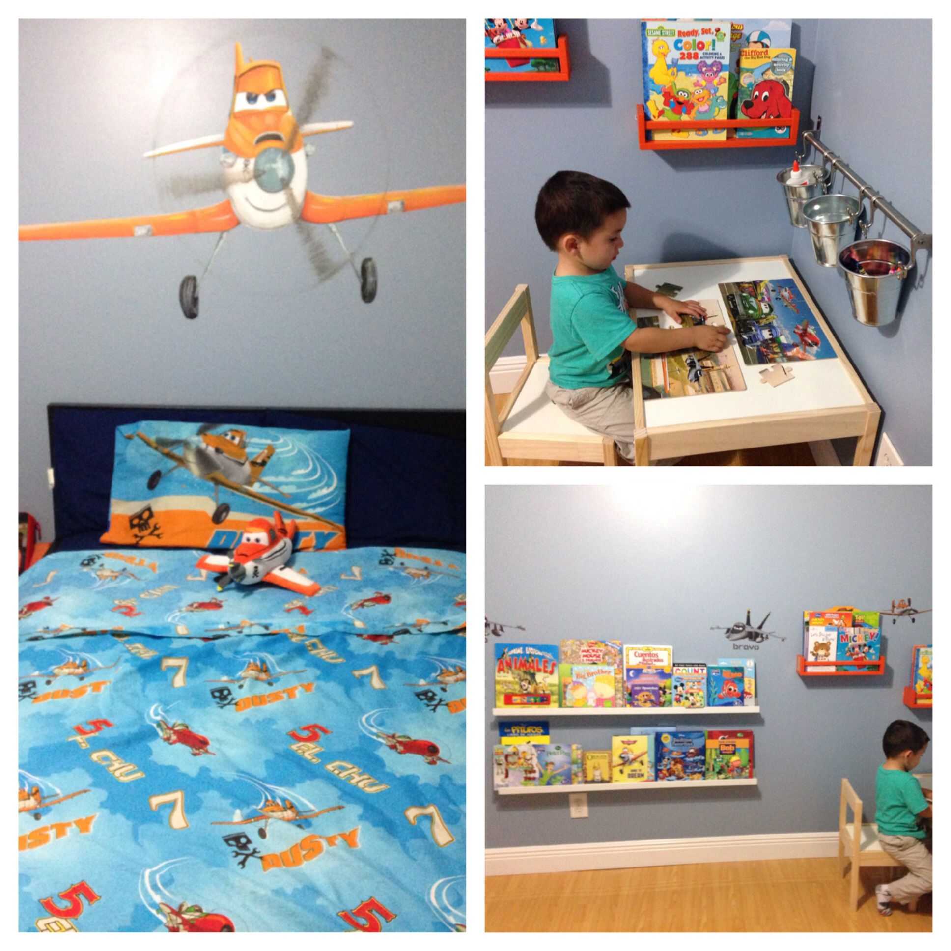 Dusty Planes Themed Room. Toddler Art Corner DIY Dusty Wall Art Is Painted  Mural South