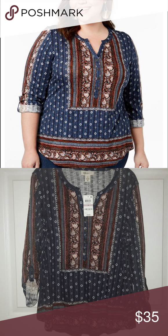 comfortable feel nice cheap size 7 Style & Co Peasant top NWT Plus size mixed print top Style ...