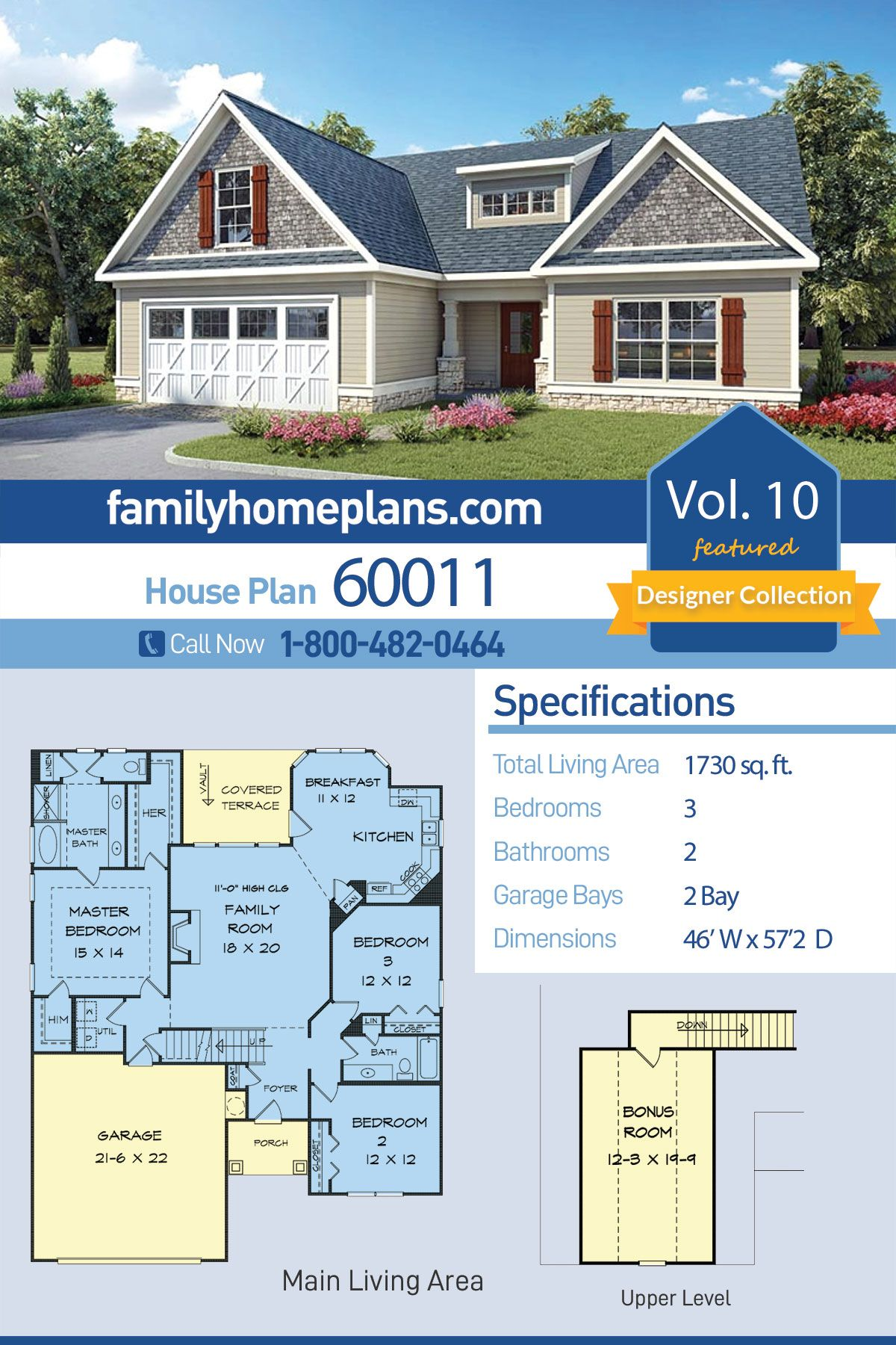 Traditional Style House Plan 60011 With 3 Bed 2 Bath 2 Car Garage Cottage House Plans House Plans Country Style House Plans