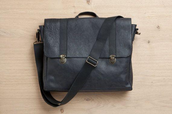 Satchel bag black leather bag student backpack by EMILISTUDIO
