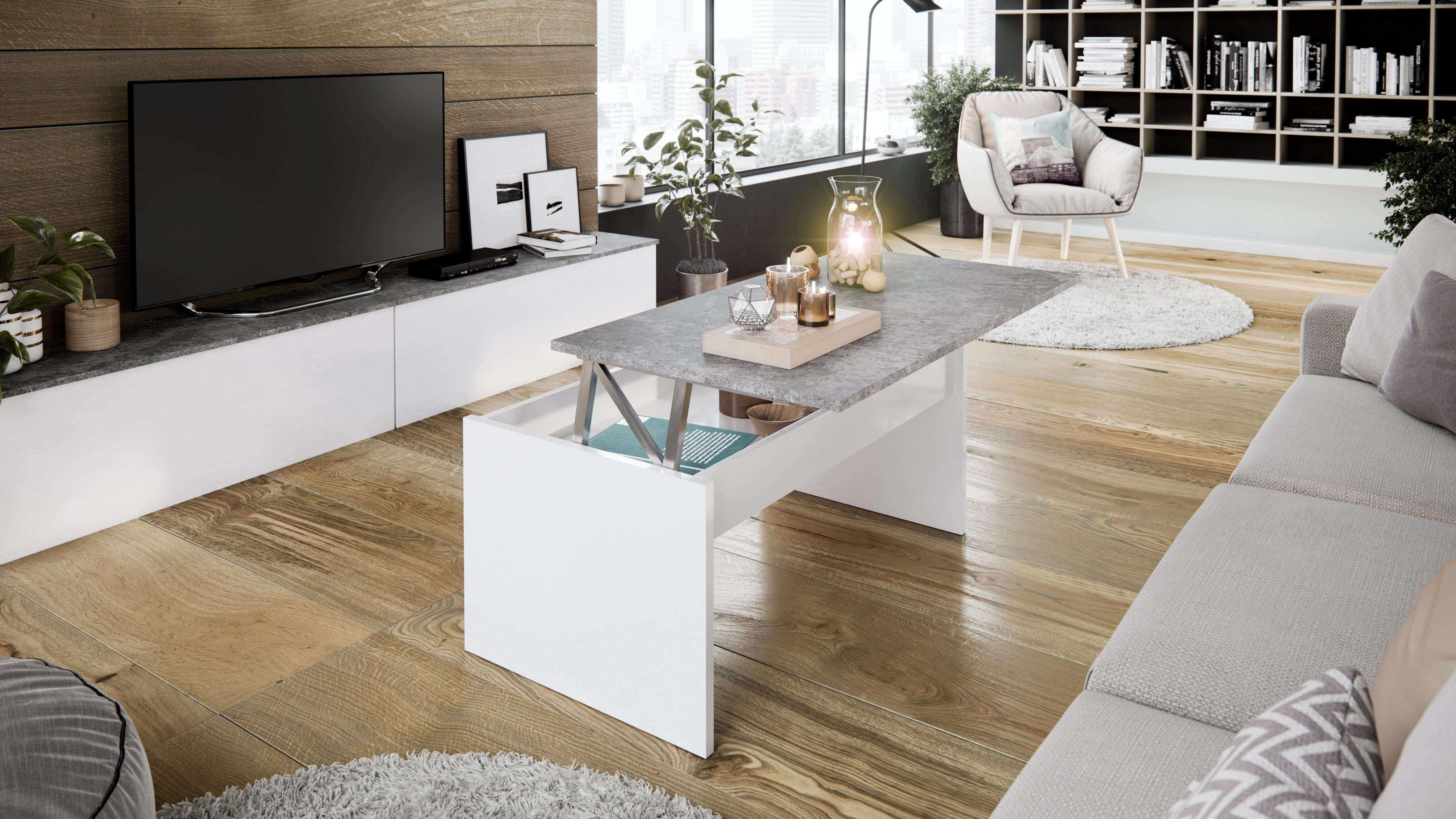 Table Basse Plateau Relevable Yana Blanc Et Imitation Beton Table Basse Plateau Table Basse Maison