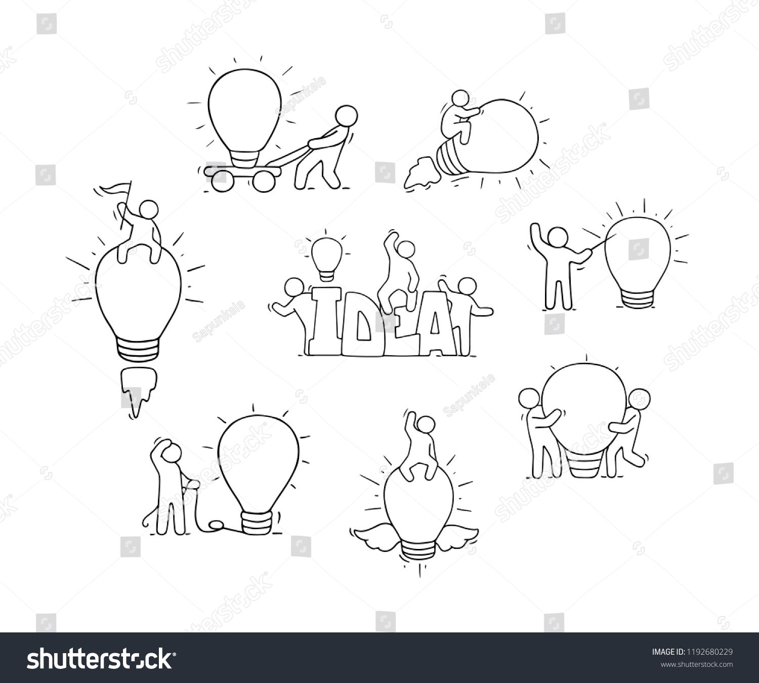 Cartoon Lamp Ideas With Little People Comic Hand Drawn Collection With Workers Vector Isolat How To Draw Hands App Design Inspiration Little People