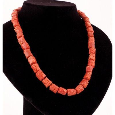 Collana Lunga di Corallo Rosso e Argento