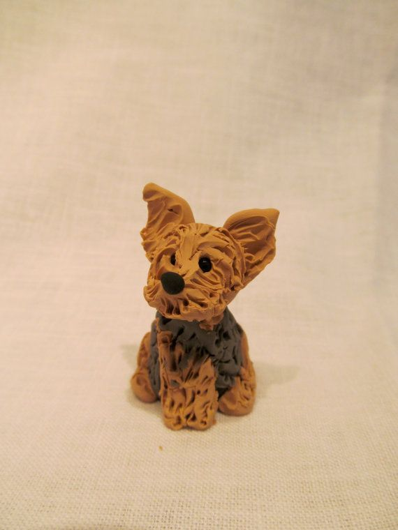 Hand Sculpted Polymer Clay Yorkie Dog Sculpture Custom Made Pet