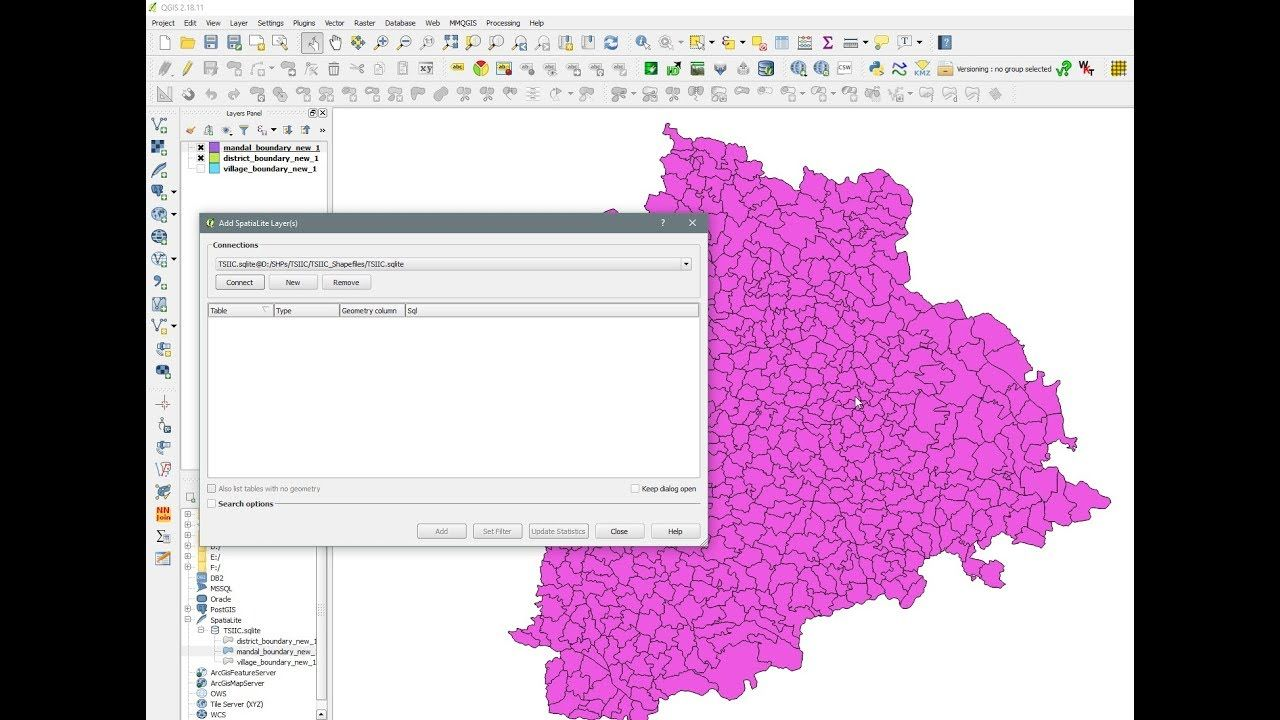 Spatialite GUI SQLite Connect SQLite Database to QGIS and Visualize