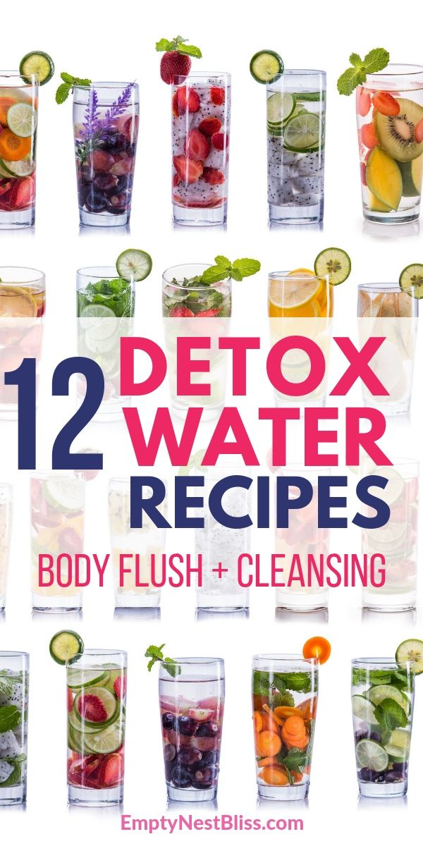 12 DIY detox water recipes to help with body flush and cleansing Find out what is the purpose of detox water and discover easy ways to make your own delicious cleansing w...
