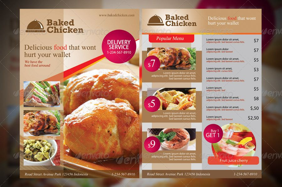 Modern Restaurant Food Menu Flyer Template  Akhil
