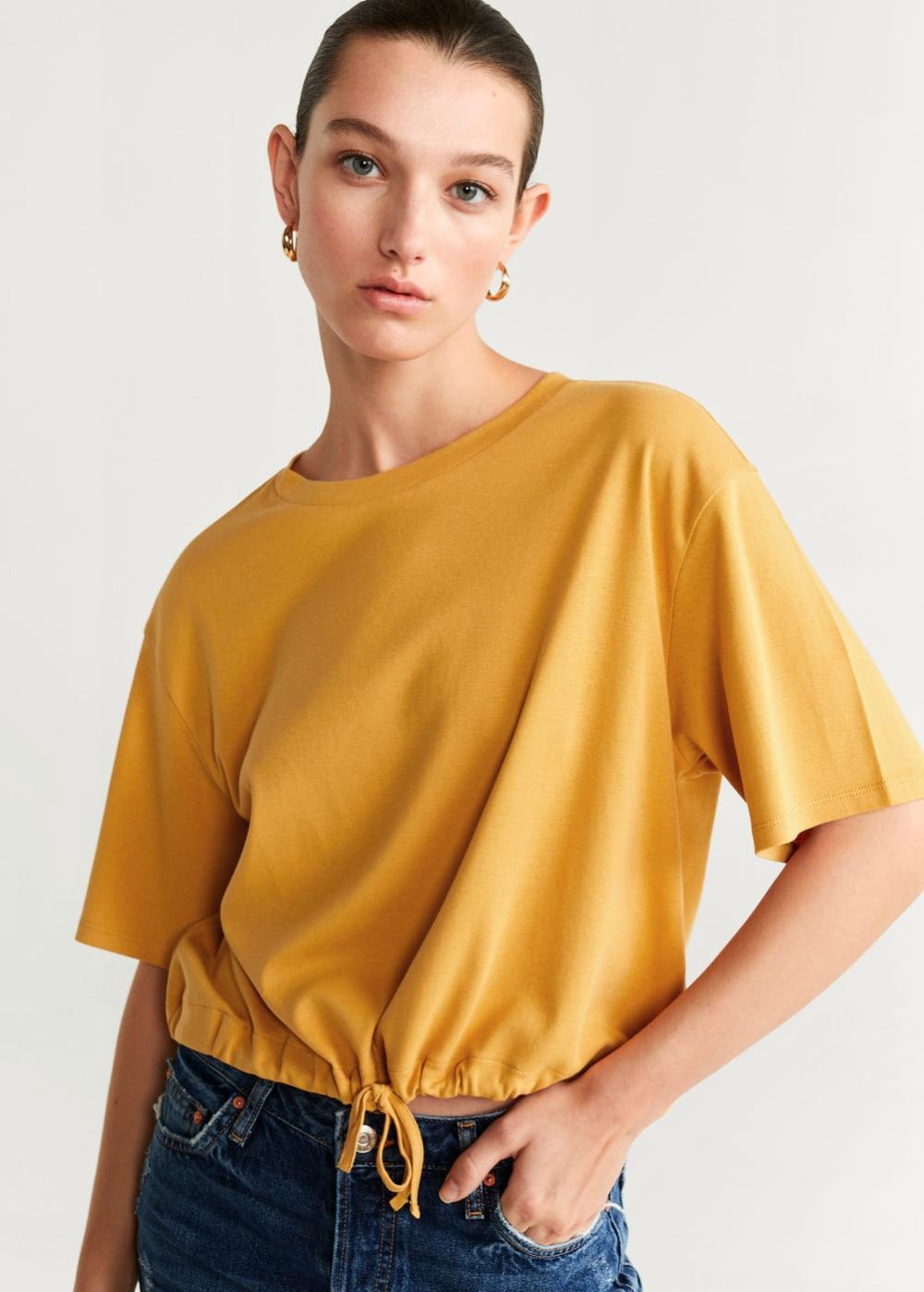 Adjustable Cord T Shirt Women Mango Usa In 2020 Womens Shirts Women Short Tops