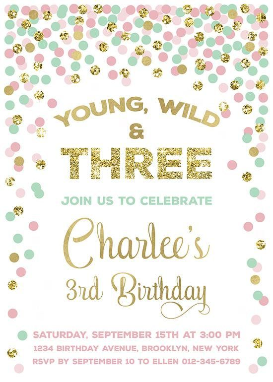 Young Wild And Three Birthday Invitation 3rd Birthday
