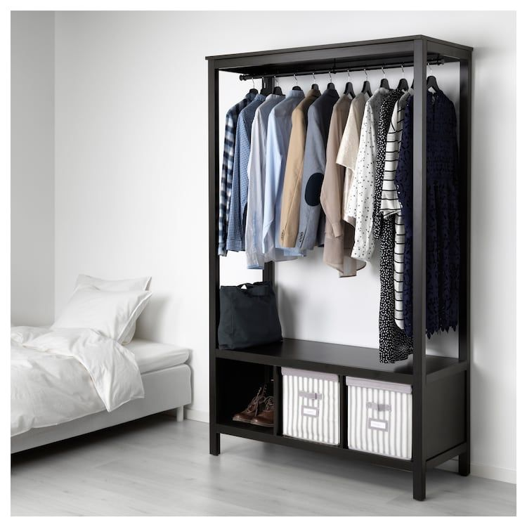 Hemnes Open Wardrobe Black Brown 47 1 4x19 5 8x77 1 2 Open