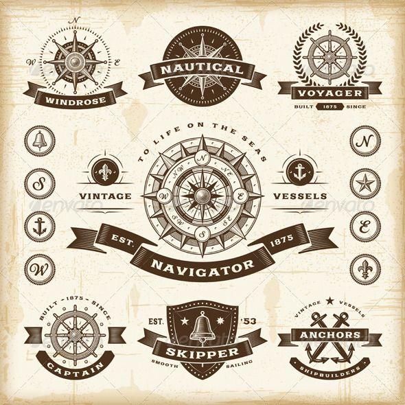 Nautical Symbols And Meanings Vintage Nautical Label...