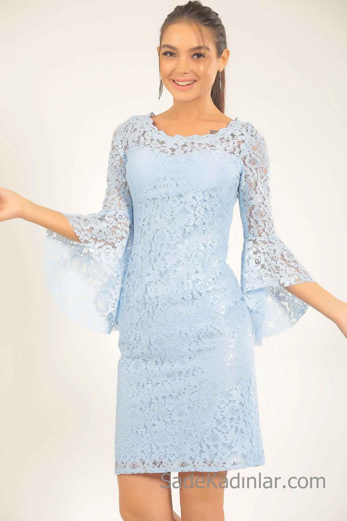 2d06842b3212d Bebe Mavisi Elbise Modelleri Kısa Yuvarlak Yaka Uzun İspanyol Kol Dantel