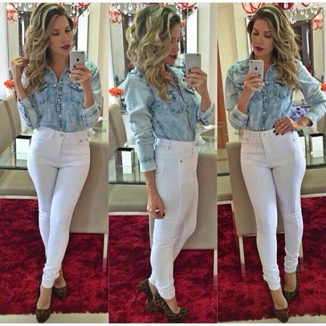 Camisa Jeans | Calça Branca