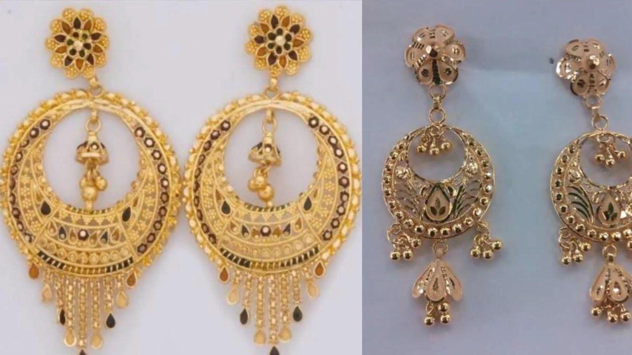 Latest Light Weight Gold Earrings Designs Jewellery Razik Jew