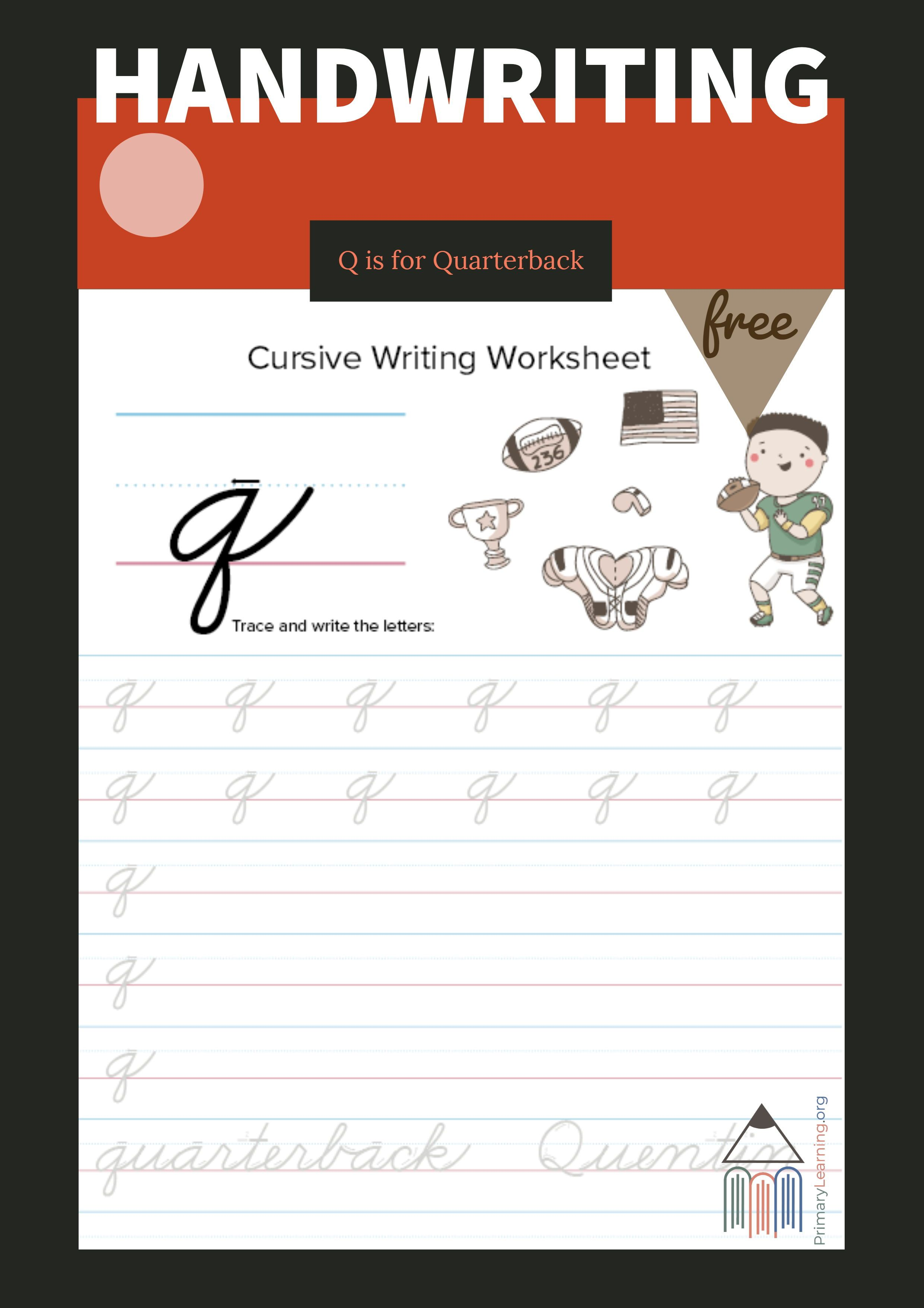 Lowercase Cursive Q Worksheet