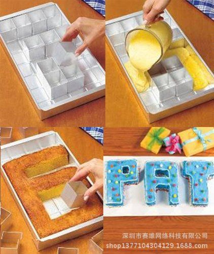 This specially designed cake pan allows you to spell any letter. This makes if perfect to spell out names in cake for special occasions. #cake #birthday