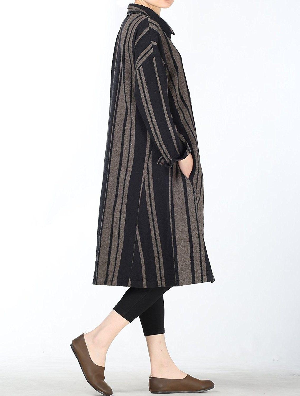 44c4b8e303d52b Women's Clothing, Tops & Tees, Blouses & Button-Down Shirts, Women's Stripe  Blouse Cotton Linen Shirt Dress - Black - C118CL4NCLU #women #fashion # clothing ...