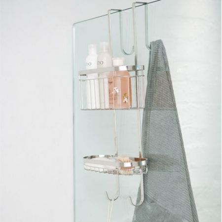 Howards Storage World | Stainless Steel Over the Door Shower Caddy ...