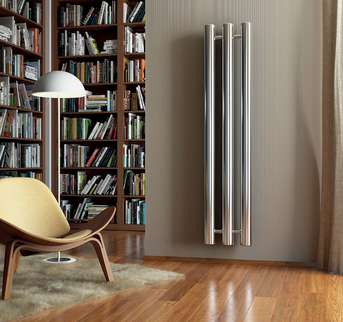 Radiatore tubolare in acciaio cromato design moderno for Termoarredo design soggiorno