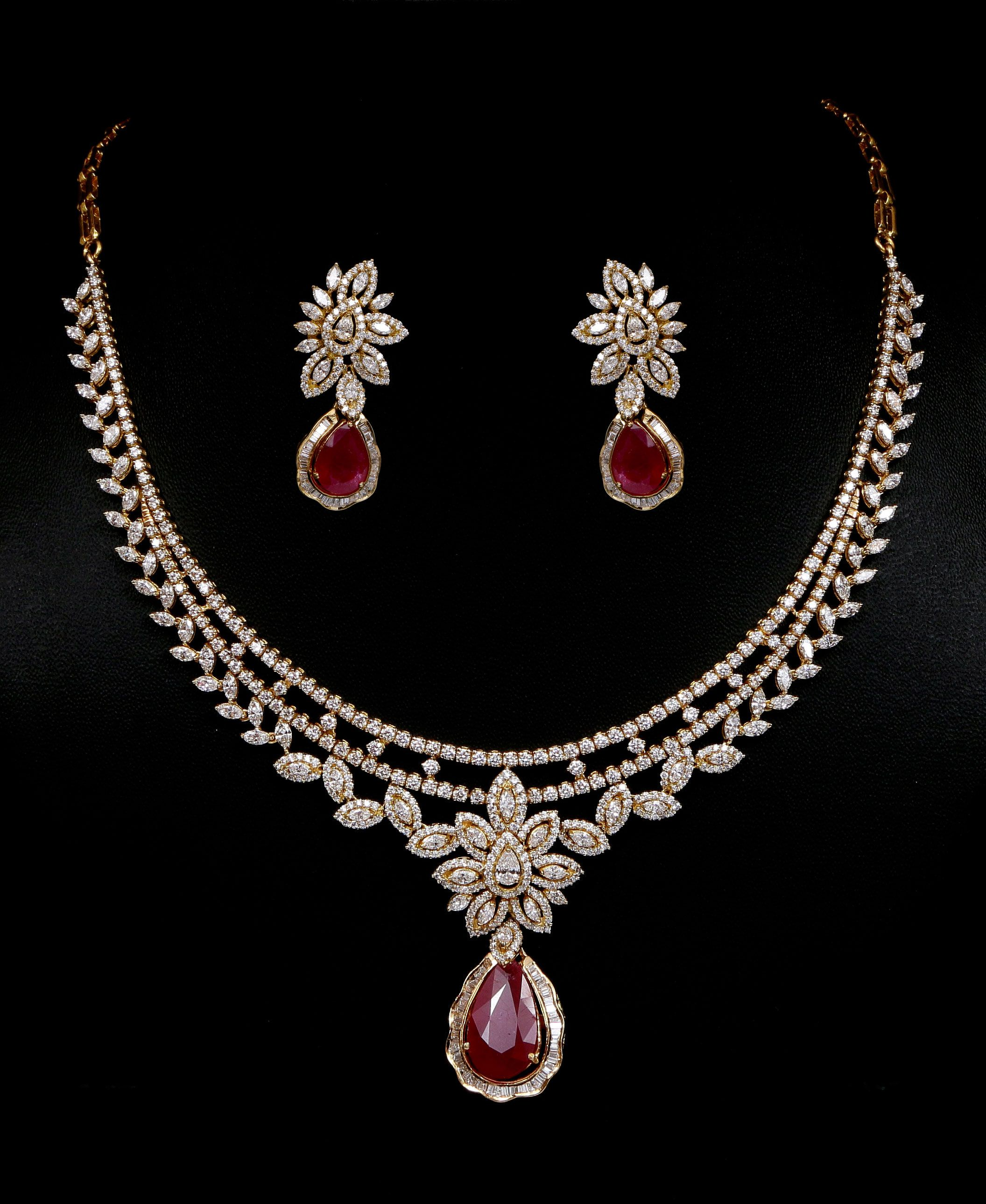 Diamond and ruby necklace set Vummidi Bangaru Jewellers