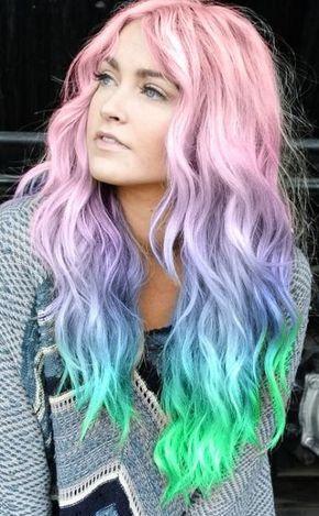 Pink Blau Neon Grun Pastell Rainbow Haar Frisur Ideen Frauen