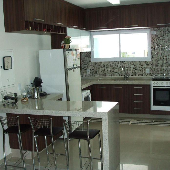 Cozinha integrada a sala de estar com arm rio em m de for Cocina americana sala de estar idea