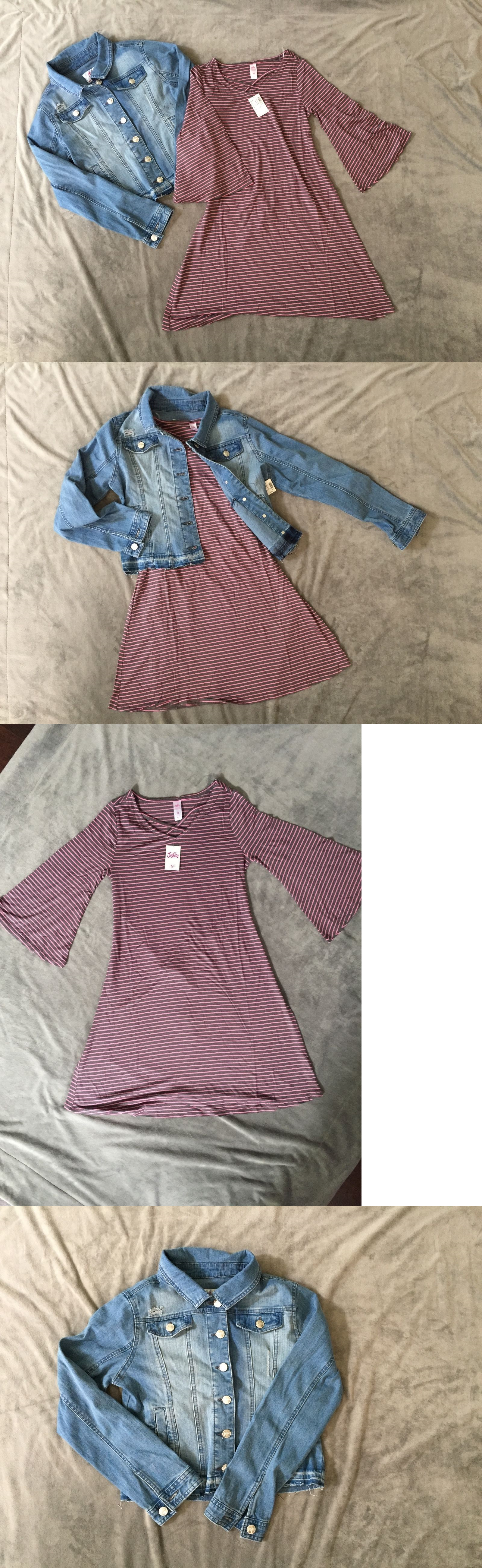 Pink dress with denim jacket  Outfits and Sets  Nwt Justice Destroyed Jean Jacket And