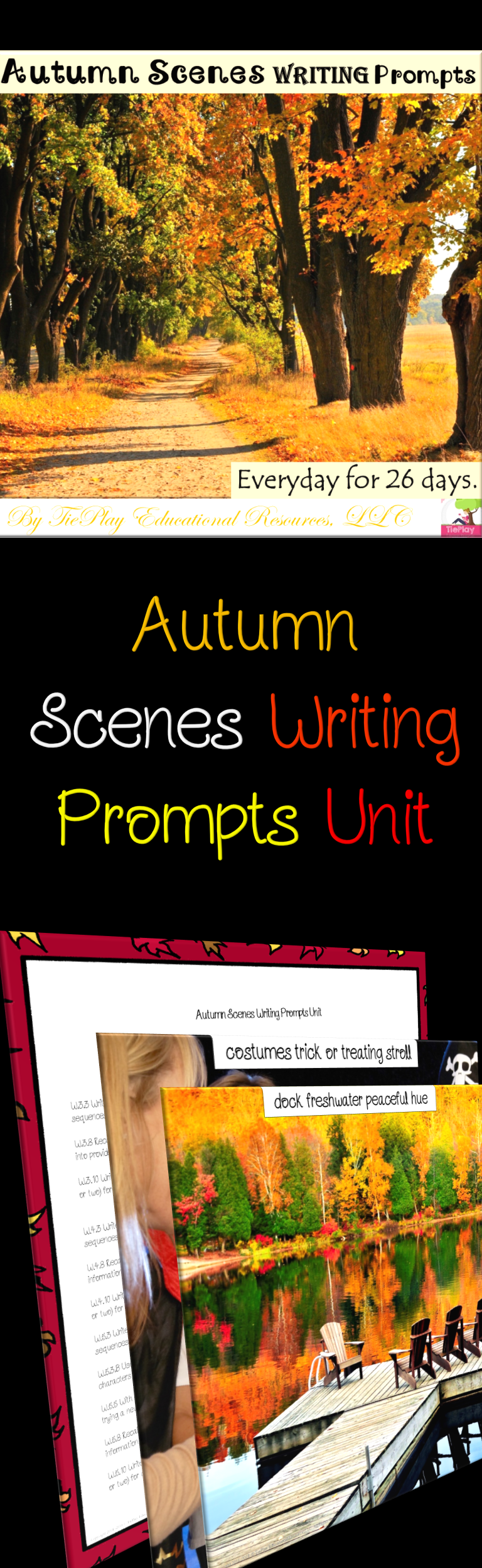 Autumn Scenes Key Words Writing Prompts with Visuals Unit No Prep