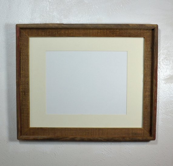 Earthy Wood Picture Frame 11x14 Off White Mat 11x14 11x17 12x16 Or 12x18 Mat Options Picture On Wood Wood Picture Frames Reclaimed Wood Frames