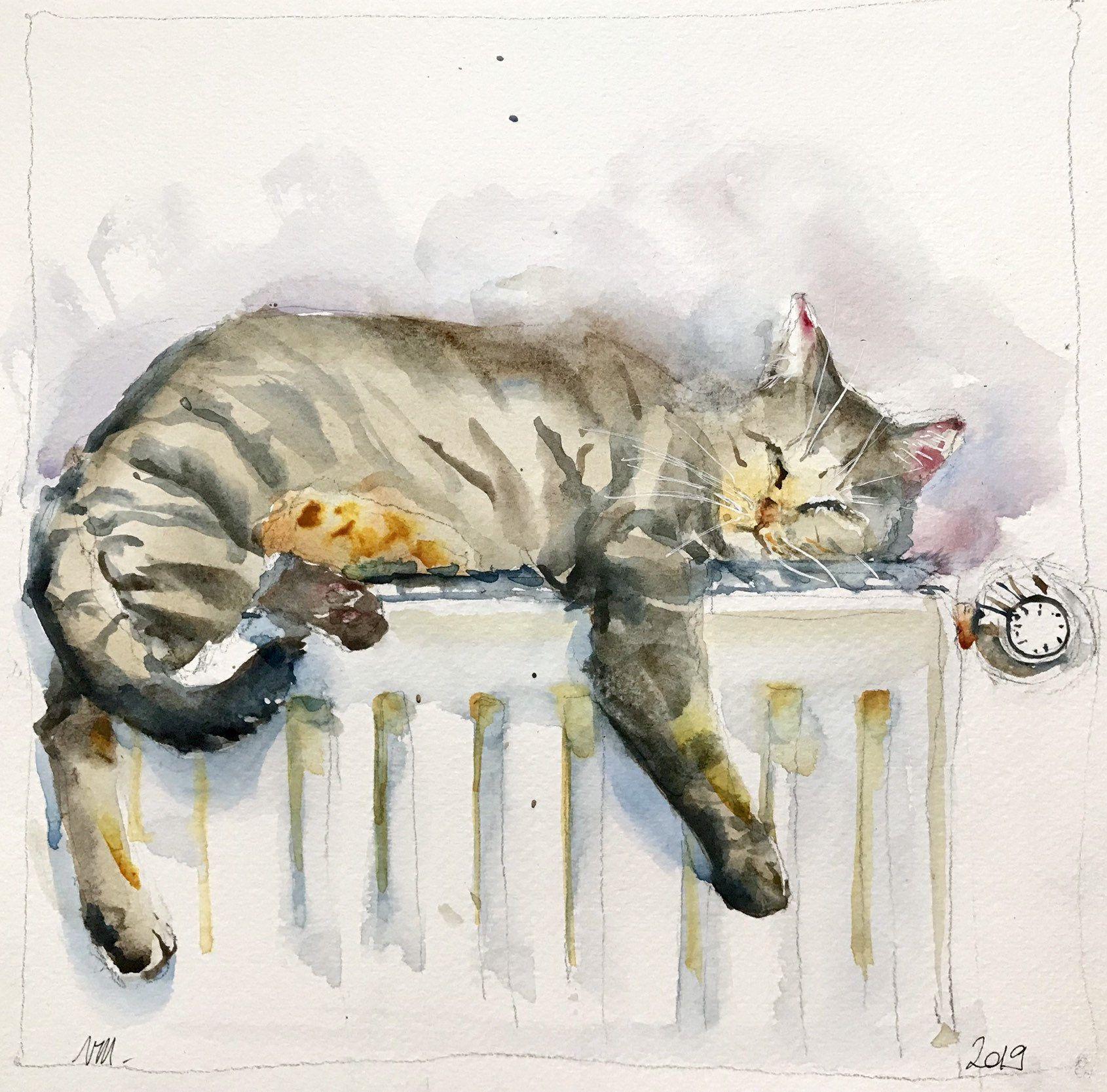 Aquarelle Peinture Originale Chat Couche Endormi Sur Le