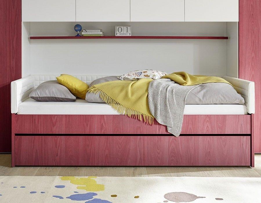 Lit combiné rouge et blanc design NATHEO 2 | Lit enfant moderne et ...