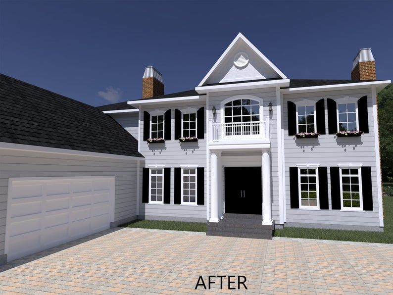 3d House Rendering 3d Rendering Of House Exterior Home Etsy Brick Exterior House House Paint Exterior Colonial House Exteriors