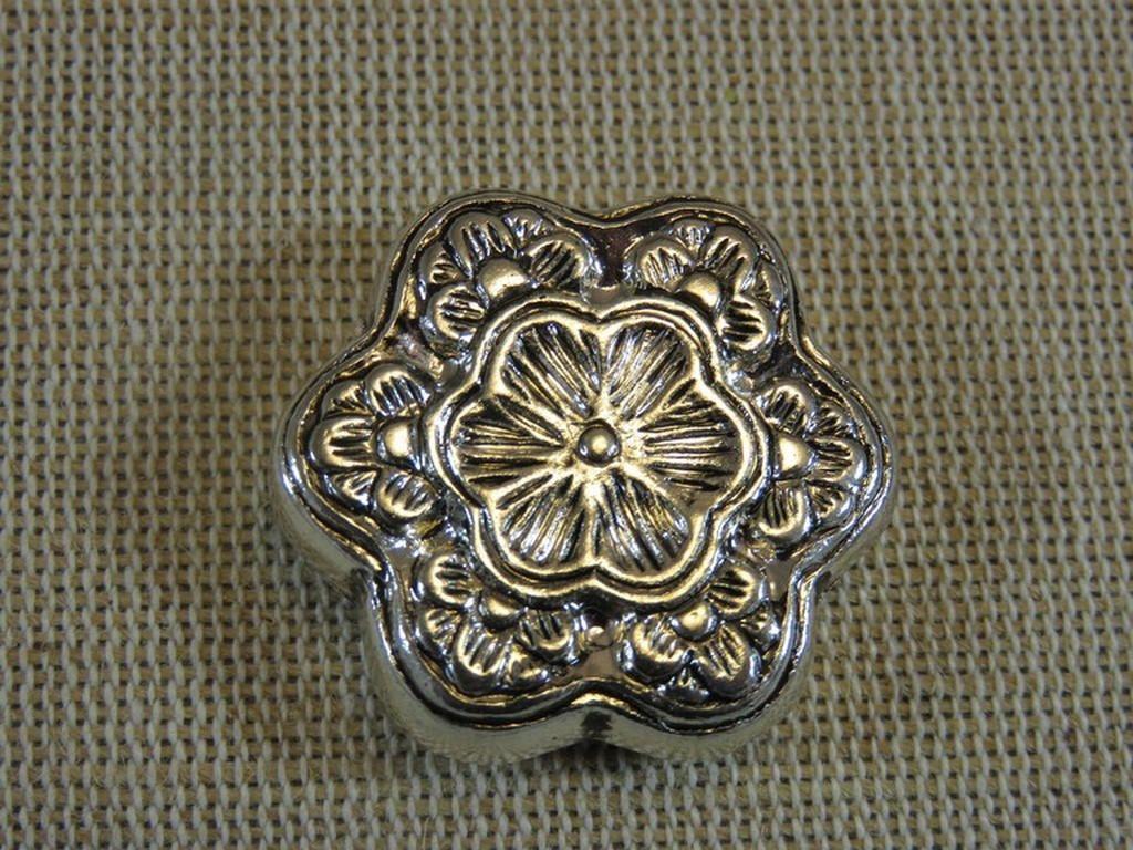 20 Perles Intercalaires Fleur Flower 7mm en métal argenté Création