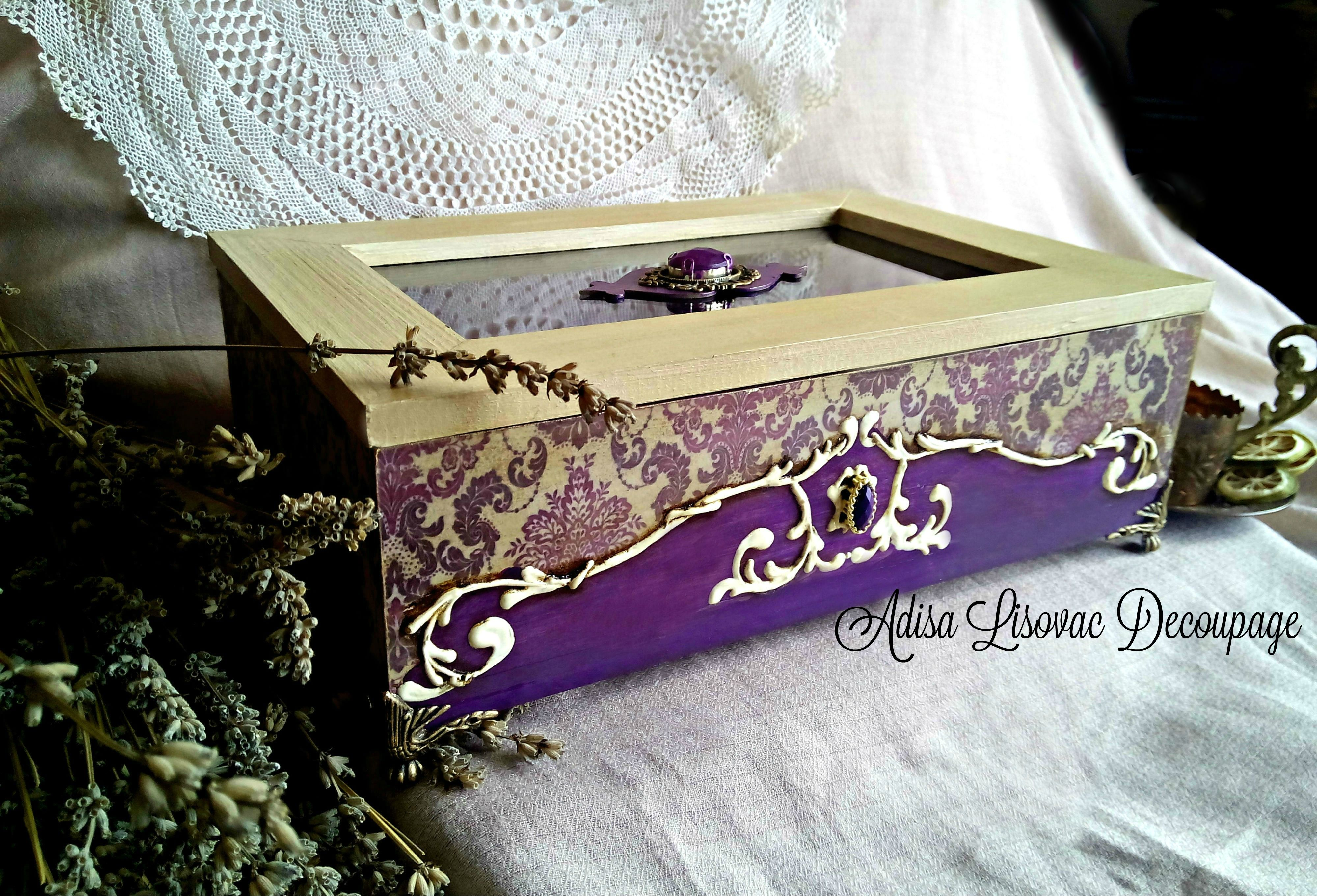 victorian jewelry box old antique purple tea box by Adisa Lisovac Decoupage