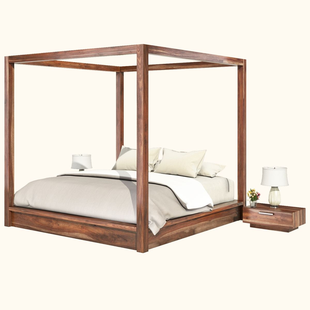 Hampshire Rustic Solid Wood Canopy Bed Canopy Bed Frame Wood