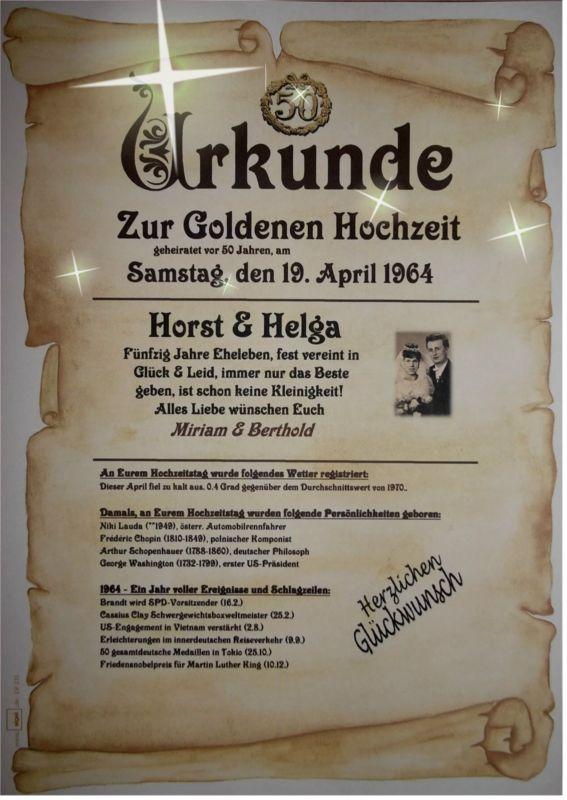 WOW GOLDENE HOCHZEIT Geschenk Urkunde zum 50 Hochzeitstag  M3  goldene Hochzeit