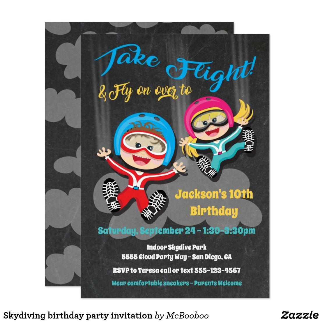 Skydiving birthday party invitation