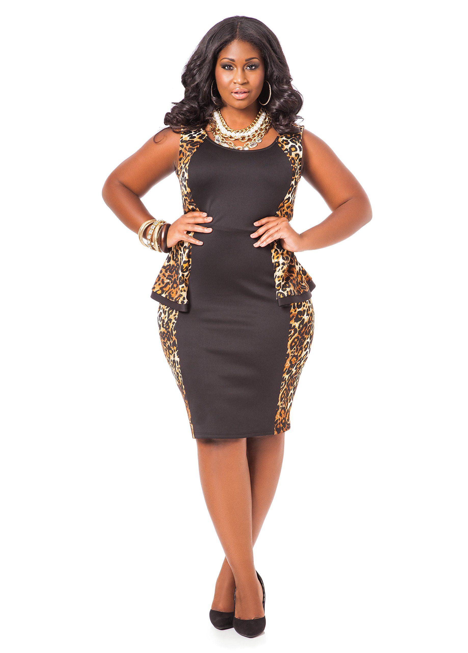 Ashley Stewart Women s Plus Size Leopard Print Colorblock Peplum Dress  Black 22 24 a13a9d926