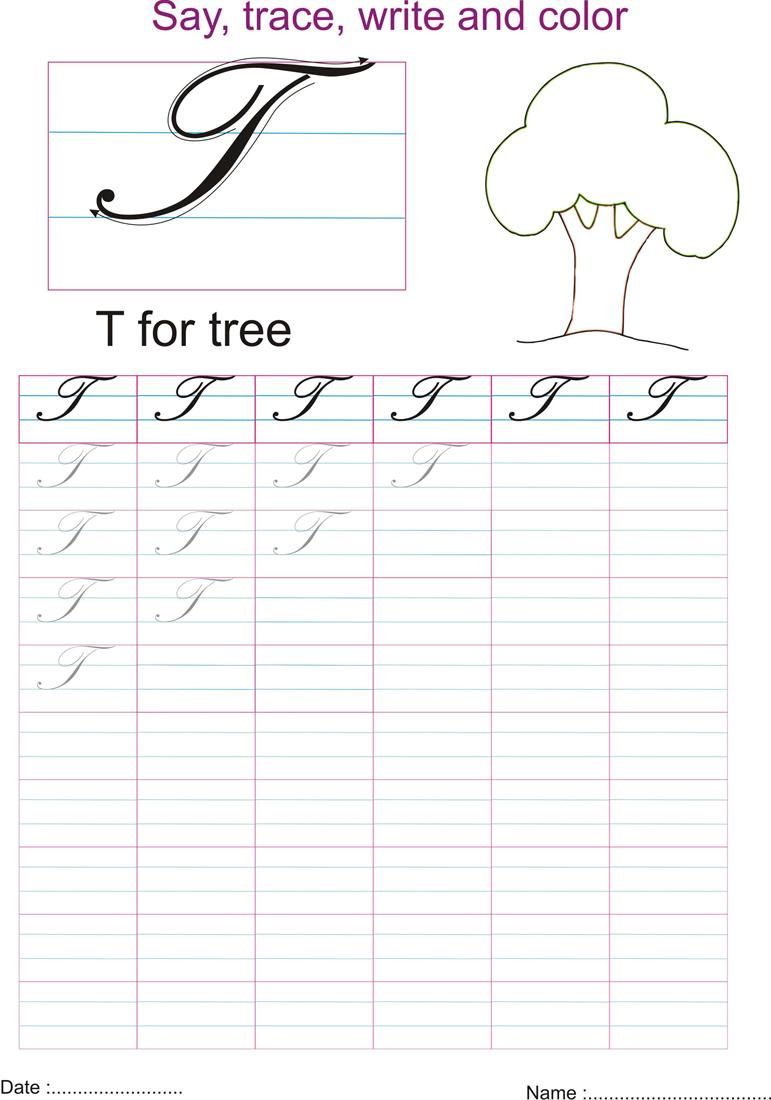 cursive captial letter 't' worksheet | kids la: writing | pinterest