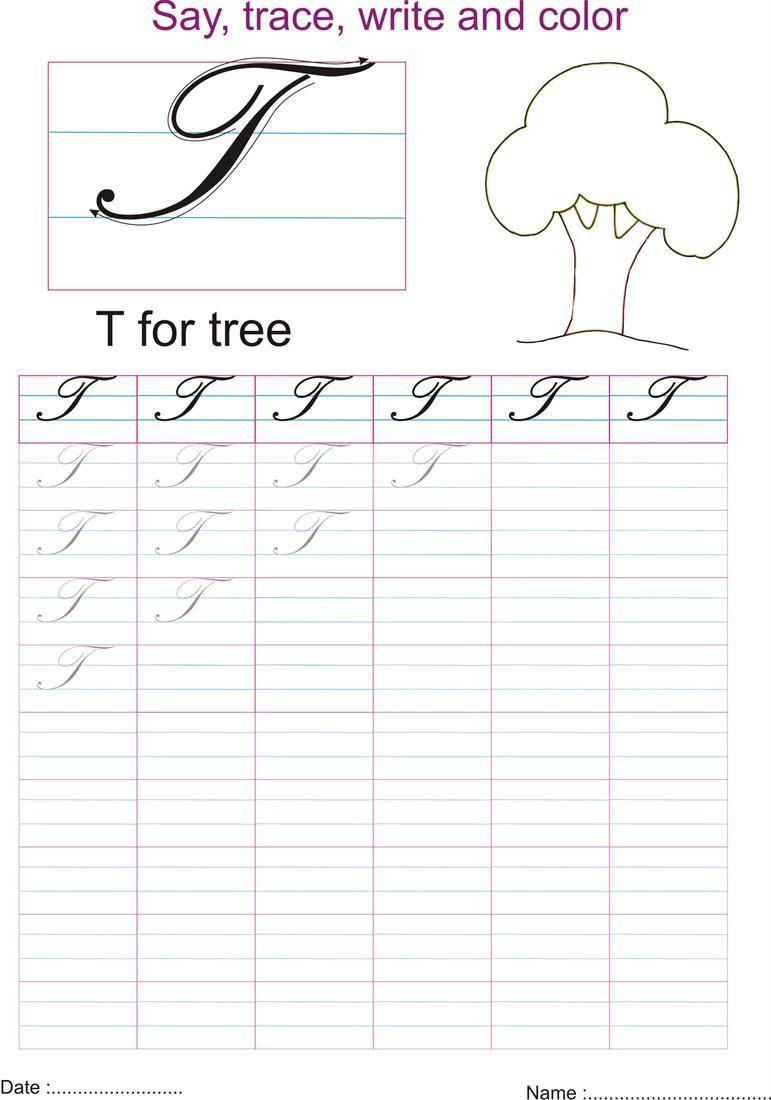 Cursive Captial Letter T Worksheet Kids La Writing Pinterest