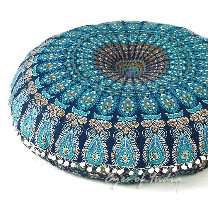Decorative Seating Boho Mandala Bohemian Round Floor Cushion Dog Bed Throw Meditation Pillow Cover 32 Large Floor Pillows Decorative Floor Cushions Boho Floor