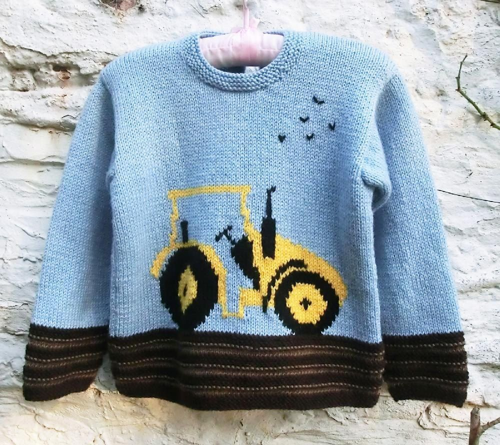 Childs sweater with tractor motif knitting patterns tractor and childs sweater with tractor motif baby girl patternsknitting bankloansurffo Images